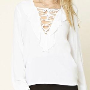 2/$25 Brand new Forever 21 ruffled lace up blouse